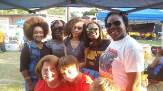 Joanne Shum enjoying tailgating with LaShon Rodgers and friends