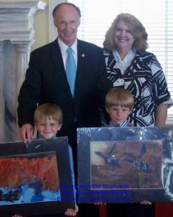 Joanne Shum and grandsons with Governor Bentley
